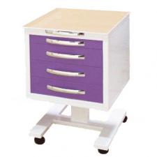Тумба-стол подкатной с 4 ящиками (стекло прозрачное)